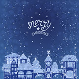 Christmas decorations. Christmas background with night city landscape vector illustration