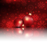 Christmas decorations background. Christmas background with red baubles Stock Images