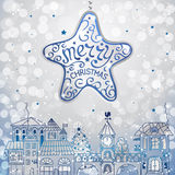 Christmas decorations. Christmas background with silver star and city royalty free illustration