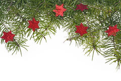 Christmas decorations background spruce twig green star stars Stock Photo