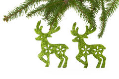 Christmas decorations background spruce twig reindeer white Stock Image