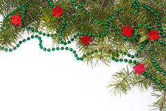 Christmas decorations background star stars green spruce twig Stock Photo