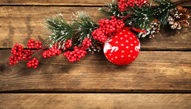 Christmas decorations on a background wooden royalty free stock photo
