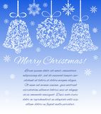Christmas decorations ball and bells from a floral ornament on a blue background with snowflakes. There is a place for text vector illustration