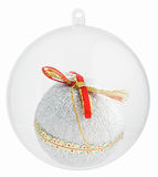 Christmas decorations ball inside glass sphere of. Christmas decorations ball inside of Transparent glass sphere isolated on white with clipping paths Stock Photo