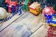 Christmas decorations, balloons and gifts Stock Image