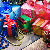 Christmas decorations, balloons and gifts Royalty Free Stock Image