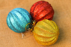 Christmas decorations balls on background sacks Royalty Free Stock Image