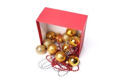 Christmas decorations, balls, beads, isolated on a white background Royalty Free Stock Photo