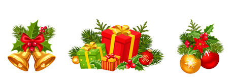Christmas decorations with balls, bells and gift boxes. Vector illustration. Stock Image