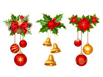 Christmas decorations with balls and bells. Vector illustration. Set of three vector Christmas decorations with red and gold balls, bells, fir branches, holly vector illustration