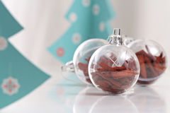 Christmas decorations balls and christmas tree Royalty Free Stock Photos
