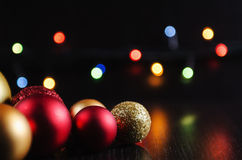 Christmas decorations balls on a dark background Royalty Free Stock Photography
