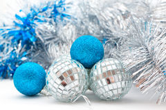 Christmas decorations: balls and garland Royalty Free Stock Photo