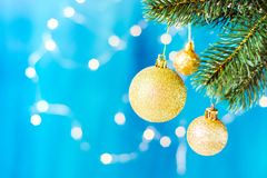 Christmas decorations, Christmas balls, Lights on glitter background. stock images