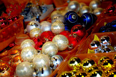 Christmas decorations. Balls , stars , lights and local handicrafts prepared for the Christmas tree and to create the Christmas atmosphere Stock Images