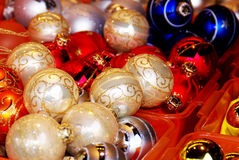 Christmas decorations. Balls , stars , lights and local handicrafts prepared for the Christmas tree and to create the Christmas atmosphere Royalty Free Stock Images