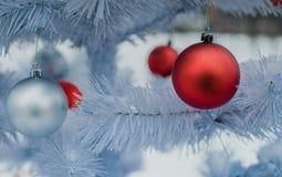 Christmas decorations. Balls on a christmas tree Stock Photo