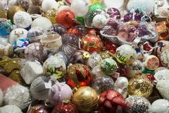 Christmas decorations balls and tree tips stock photography