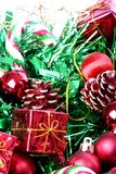 Christmas decorations in basket. Colorfull Christmas decorations in basket Stock Photo
