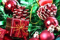 Christmas decorations in basket. Colorfull Christmas decorations in basket royalty free stock photos