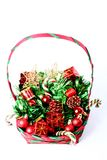 Christmas decorations in basket. With copyspace stock photos