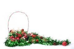 Christmas decorations in basket. With copyspace royalty free stock photo