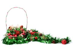 Christmas decorations in basket. With copyspace royalty free stock photos