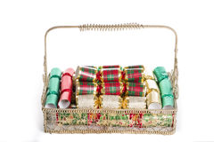 Christmas Decorations in a Basket Royalty Free Stock Photo