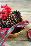 Christmas decorations in basket Royalty Free Stock Photography