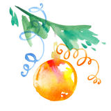Christmas decorations, bauble with christmas tree branch. Royalty Free Stock Photography