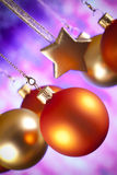 Christmas decorations - baubles and stars Stock Photos