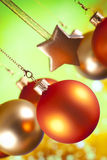 Christmas decorations - baubles and stars Stock Photo