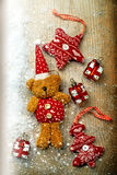Christmas decorations, bear and decor Royalty Free Stock Photo