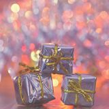 Christmas decorations. Beautiful Christmas tree ornaments on abstract, blurred colorful background. Concept for winter, holiday an Stock Images