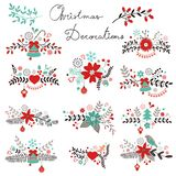 Christmas decorations. A beautiful Christmas decorations collection vector illustration
