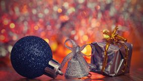 Christmas decorations. Beautiful Christmas tree ornaments on abstract, blurred colorful background. Concept for winter, holiday an Royalty Free Stock Images