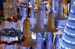 Christmas decorations - bells, flowers and tree Royalty Free Stock Images