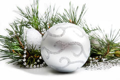 Christmas decorations with big silver Stock Photo