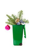 Christmas decorations in the bin Stock Photos