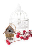 Christmas decorations:birdhouse and vintage bird cage Royalty Free Stock Image