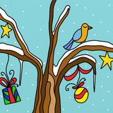 Christmas decorations and birds Royalty Free Stock Photos