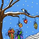 Christmas decorations and birds Stock Photography