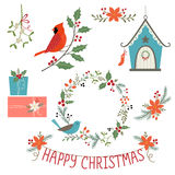 Christmas decorations and birds Stock Photos