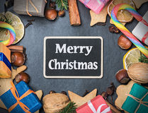 Christmas decorations and a black board. For congratulations Royalty Free Stock Photo