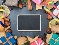 Christmas decorations and a black board. For congratulations Stock Images