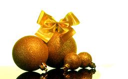 Christmas decorations on a black mirror reflection surface Stock Photo
