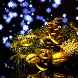 Christmas decorations on a black mirror reflection surface Stock Photos