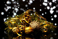 Christmas decorations on a black mirror reflection surface Royalty Free Stock Photo
