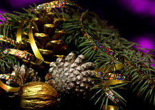 Christmas decorations on a black mirror reflection surface royalty free stock image